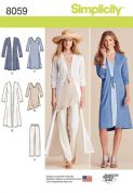 8059 Simplicity Pattern: Misses' Duster in Two Lengths, Trousers and Knit Dress or Tunic